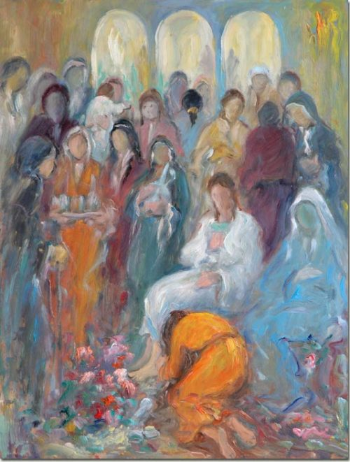 Lebanon art painting artist Joseph Matar - Magdalen at the feet of our Lord
