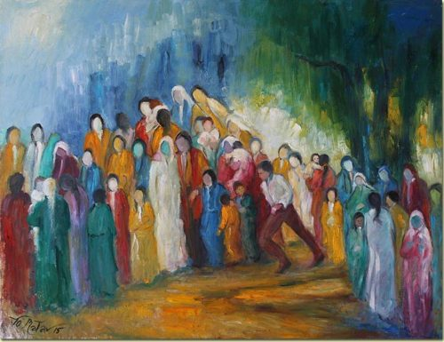 Lebanon art painting - Immigrants - Peinture