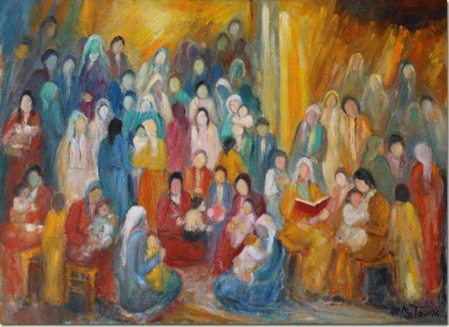 Lebanon art painting - Meeting - Rencontre