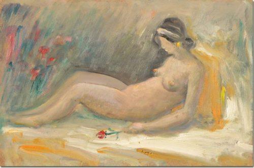 Lebanon art - Girl and Rose - La Fille à la Rose