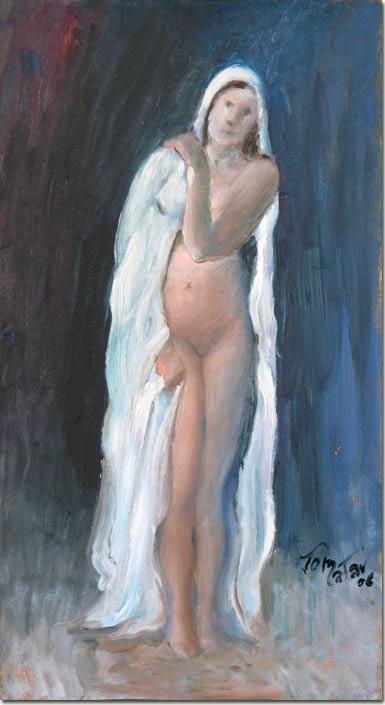 Madelaine draped in White - Madelaine drapée en blanc